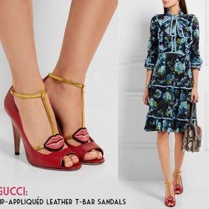 Gucci Molina Lips Red Open Toe T-Bar Heels 39